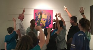Docent with Warhol and 5th graders