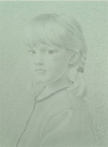 Koo Schadler. Eliza, 2006 Silverpoint, egg tempera on blue toned gesso panel, 6 x 8 in. Collection of the Evansville Museum, Gift of the artist